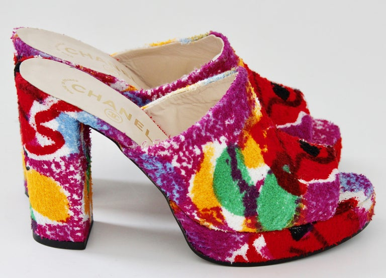 Women's Chanel Multicolor Floral Platforms Sandals Heels Terry Cloth New Old Stock 38  For Sale