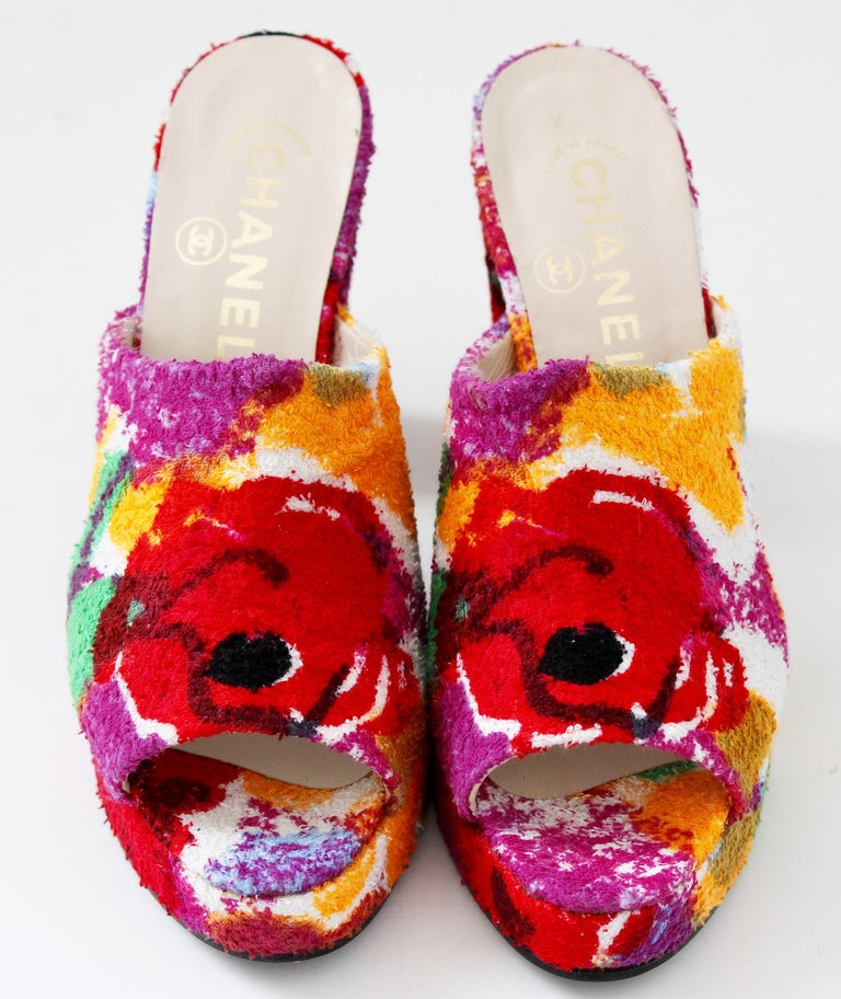 Chanel Multicolor Floral Platforms Sandals Heels Terry Cloth New Old Stock 38  For Sale 1