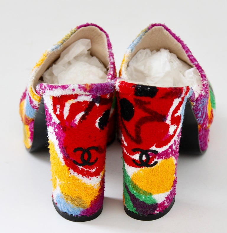 Chanel Multicolor Floral Platforms Sandals Heels Terry Cloth New Old Stock 38  For Sale 2
