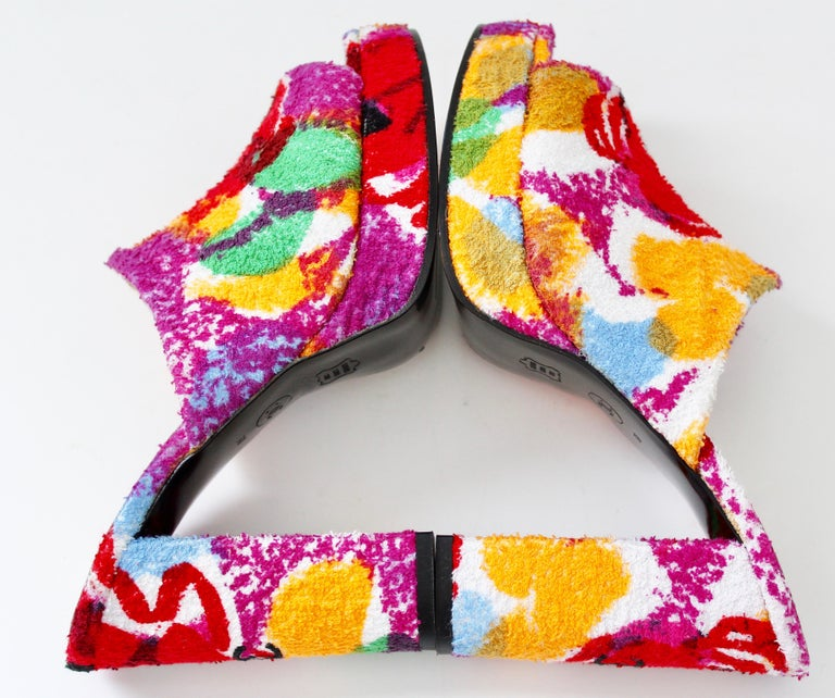 Chanel Multicolor Floral Platforms Sandals Heels Terry Cloth New Old Stock 38  For Sale 4