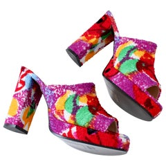 Chanel Multicolor Floral Platforms Sandals Heels Terry Cloth New Old Stock 38