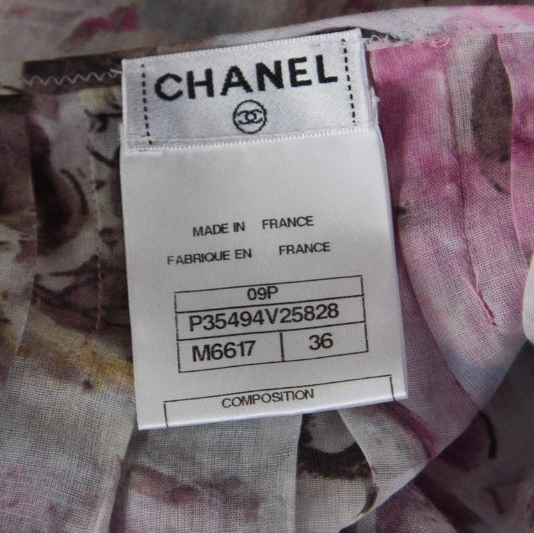 Chanel Multicolor Floral Printed Cotton Neck Tie Detail Open Front Blouse S For Sale 1