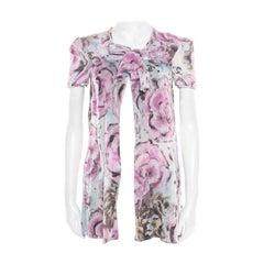 Chanel Multicolor Floral Printed Cotton Neck Tie Detail Open Front Blouse S
