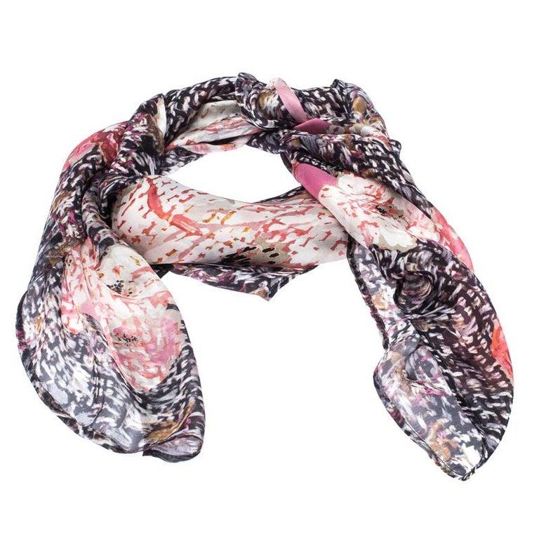 Chanel Multicolor Floral Printed Silk Scarf In Excellent Condition For Sale In Dubai, Al Qouz 2