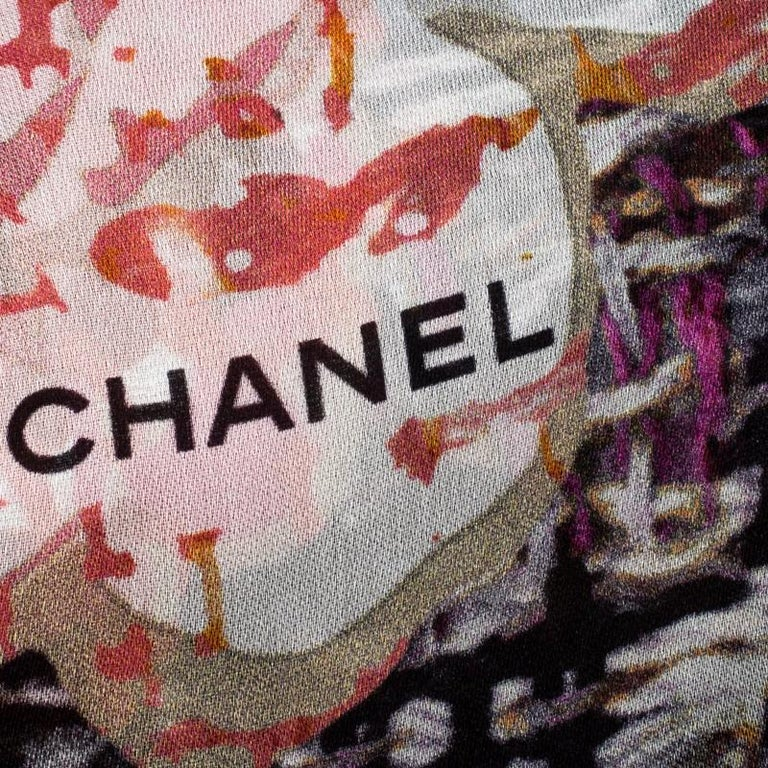 Women's Chanel Multicolor Floral Printed Silk Scarf For Sale