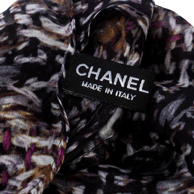 Chanel Multicolor Floral Printed Silk Scarf For Sale 1