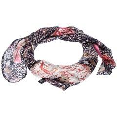 Chanel Multicolor Floral Printed Silk Scarf