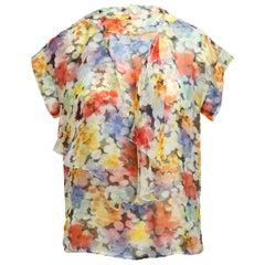 Chanel Multicolor Floral Silk Blouse