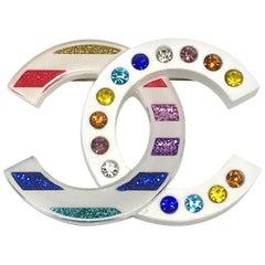 Chanel Multicolor Glitter Lucite Pin, 2019 Collection