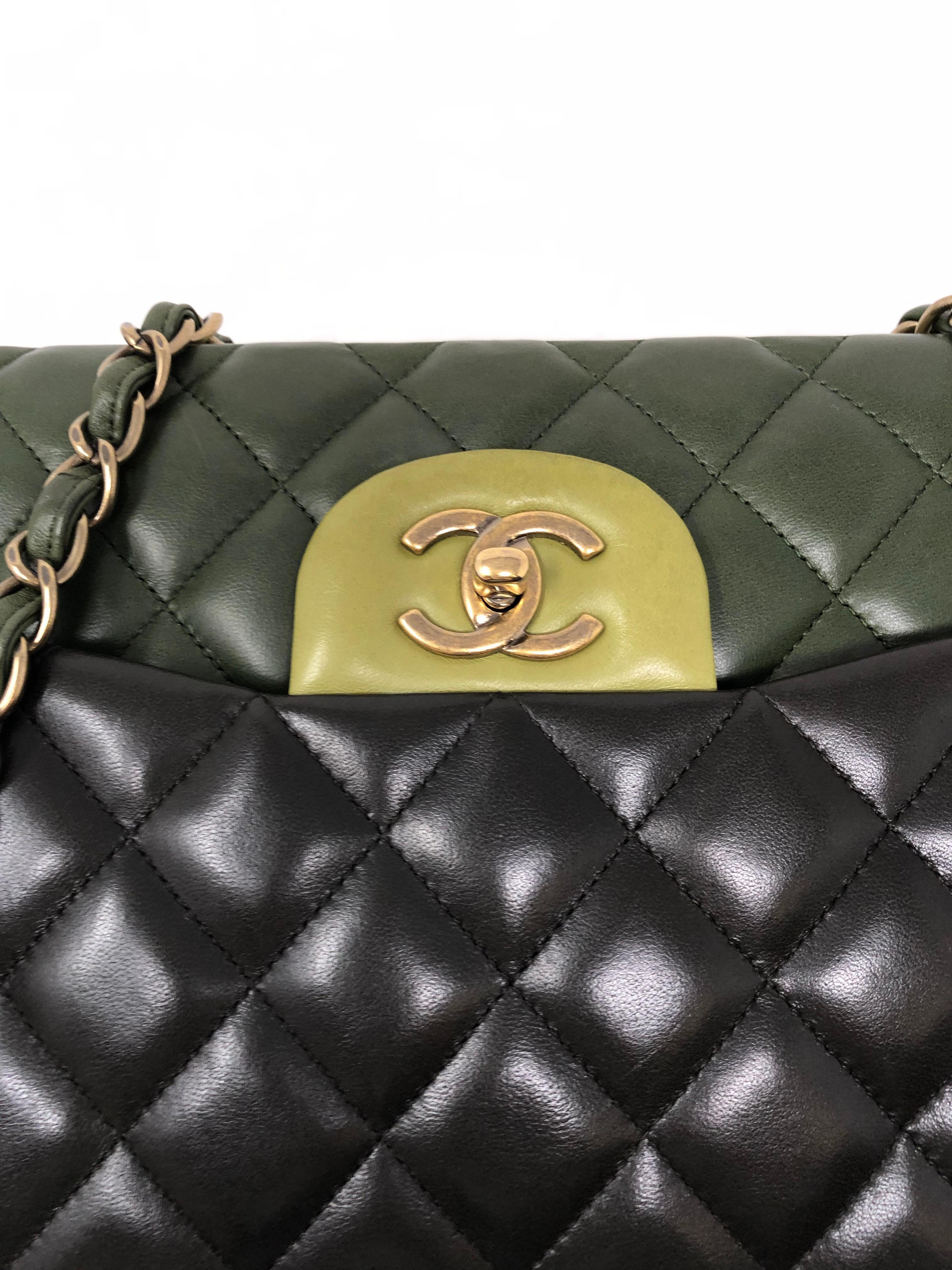a17f606ffaf6 Chanel Multicolor Green Double Flap Bag at 1stdibs