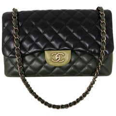 Chanel Multicolor Green Double Flap Bag