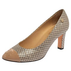 Chanel Multicolor Iridescent Mesh And Leather CC Cap Toe Pumps Size 38