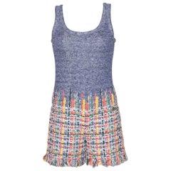 Chanel Multicolor Knit Tweed Short Jumpsuit