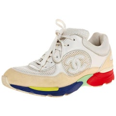 Chanel Multicolor Leather And Mesh CC Low Top Sneakers Size 37.5