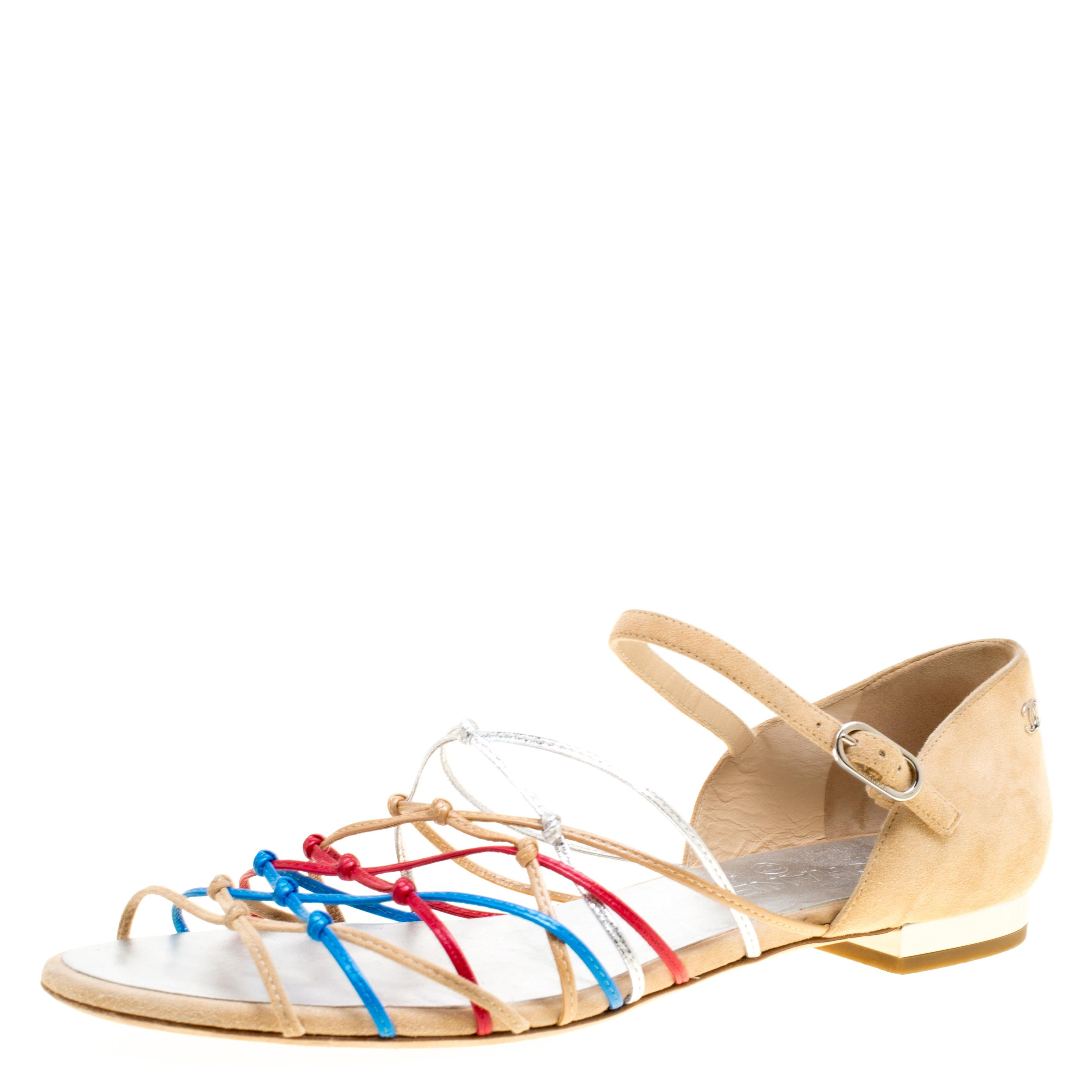 6b9070ec43 Chanel Multicolor Printed Fabric Ankle Wrap Sandals Size 39.5 For Sale at  1stdibs