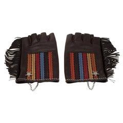 Chanel Multicolor Leather CC Dallas Star Fingerless Gloves 8.5