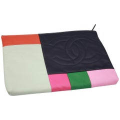 Chanel multicolor leather clutch
