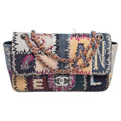 Chanel Multicolor Leather, Denim and Raffia Patchwork Medium Single Flap Bag