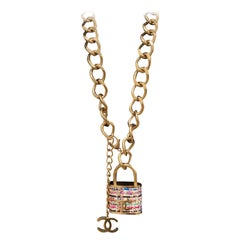 Chanel Multicolor Lock In Tweed Color Oversize Locket Gold Lock Belt
