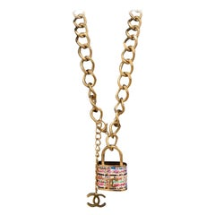 Chanel Multicolor Lock In Tweed Color Oversize Locket Gold Lock Belt