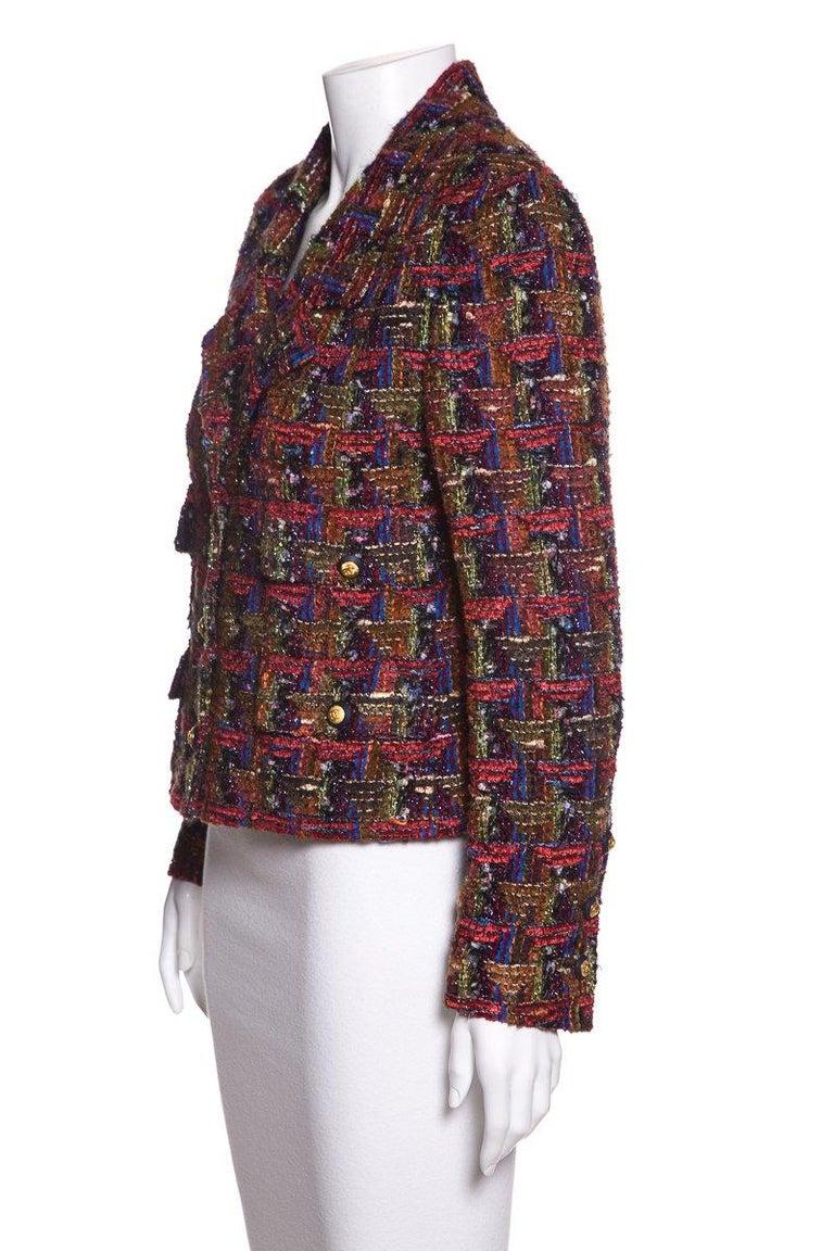 Black CHANEL  Multicolor Metallic Tweed Jacket Size M For Sale