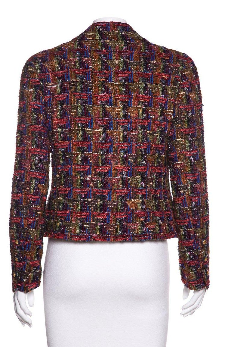CHANEL  Multicolor Metallic Tweed Jacket Size M In Excellent Condition For Sale In Scottsdale, AZ