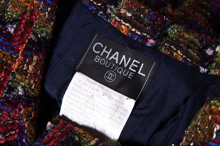 CHANEL  Multicolor Metallic Tweed Jacket Size M For Sale 1