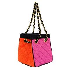 Chanel Multicolor Mini Vintage 90's Tote Bag Rare Pink Orange Black Straw Tote