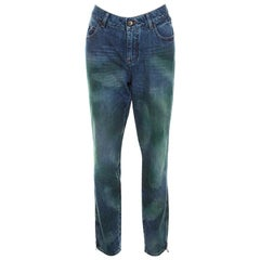 Chanel Multicolor Painted Effect Straight Fit Jeans L
