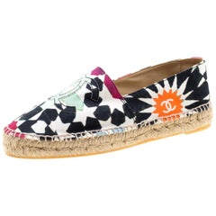 Chanel Multicolor Print Canvas CC Espadrille Size 41