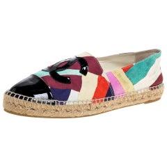 Chanel Multicolor Print Crepe CC Patent Cap Toe Espadrille Flats Size 42