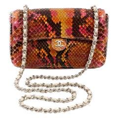 Chanel Multicolor Python Convertible  Mini Flap Bag
