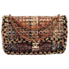 Chanel Multicolor Quilted Tweed Medium Classic Double Flap Shoulder Bag