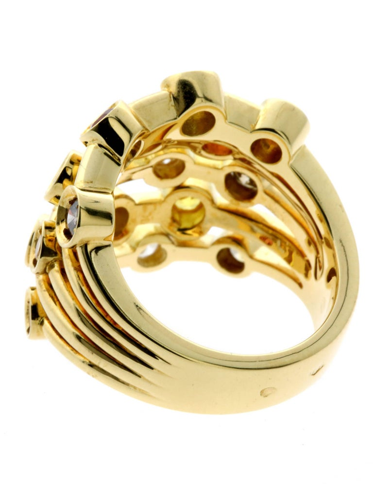 Chanel Multicolor Sapphire Diamond Yellow Gold Ring In New Condition For Sale In Feasterville, PA