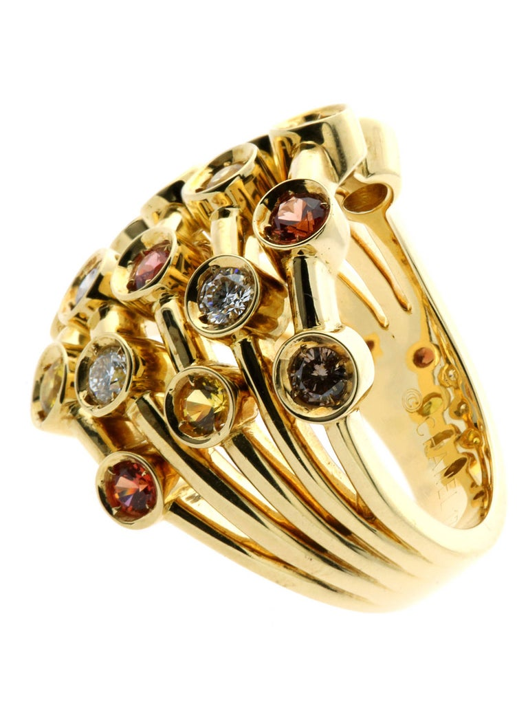 Women's Chanel Multicolor Sapphire Diamond Yellow Gold Ring For Sale