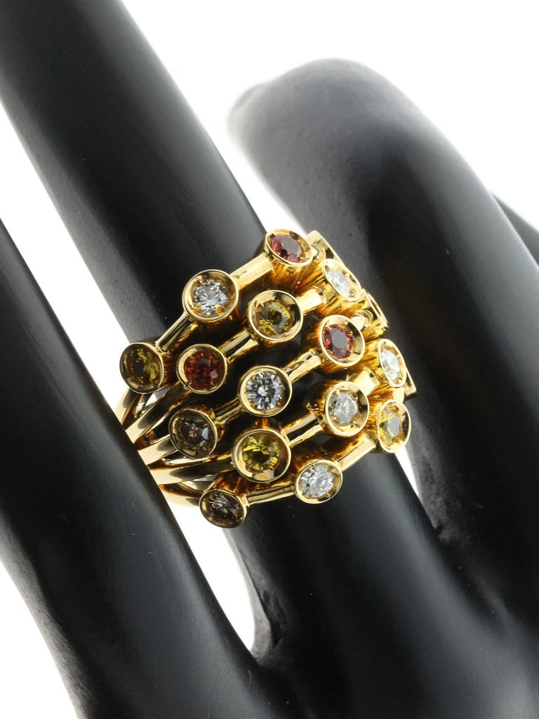 Chanel Multicolor Sapphire Diamond Yellow Gold Ring For Sale 1