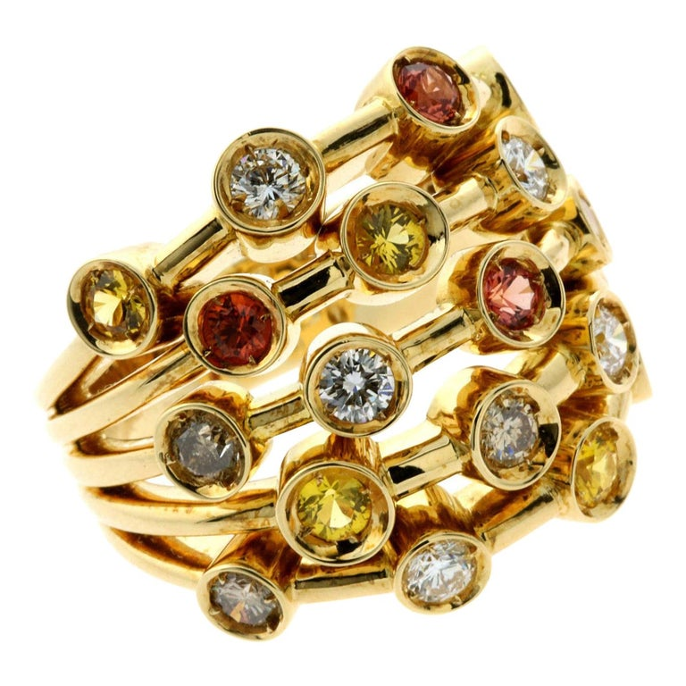 Chanel Multicolor Sapphire Diamond Yellow Gold Ring For Sale