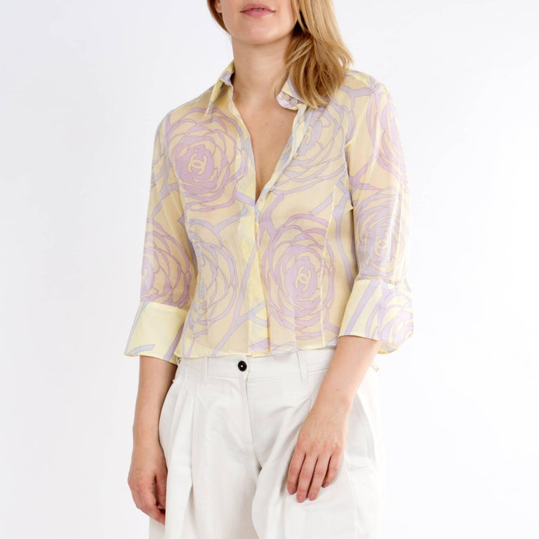 Chanel Multicolor Sheer Cotton Shirt For Sale 1