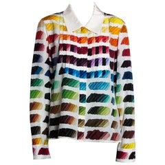 Chanel Multicolor Silk Colorama Print Long Sleeve Shirt L