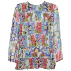 Chanel Multicolor Silk Pleated Detail Top L