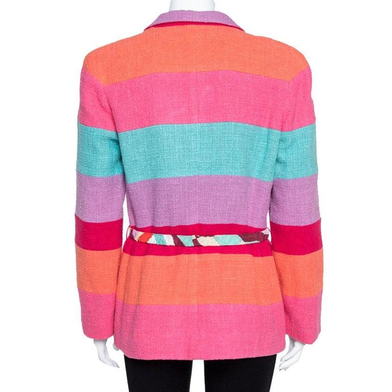 Pink Chanel Multicolor Stripe Cotton Tweed Belted Blazer L For Sale