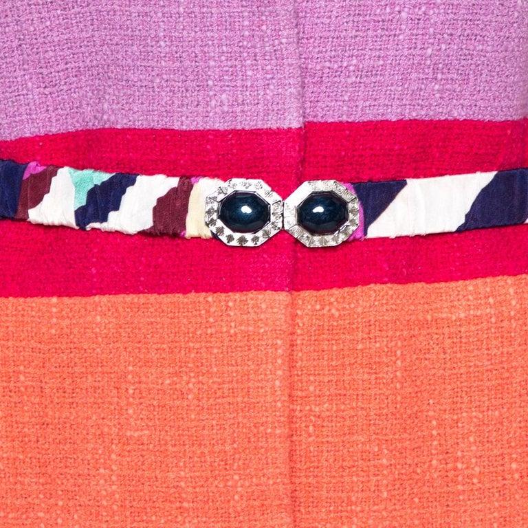 Chanel Multicolor Stripe Cotton Tweed Belted Blazer L In Good Condition For Sale In Dubai, Al Qouz 2
