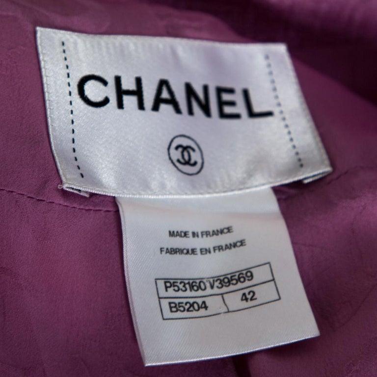 Chanel Multicolor Stripe Cotton Tweed Belted Blazer L For Sale 1