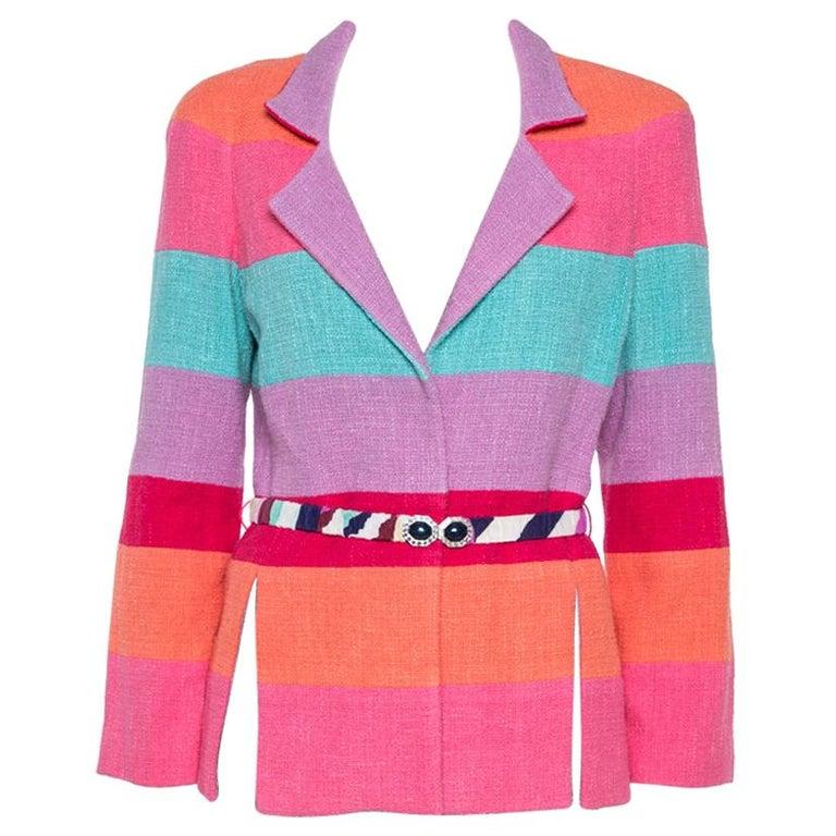 Chanel Multicolor Stripe Cotton Tweed Belted Blazer L For Sale