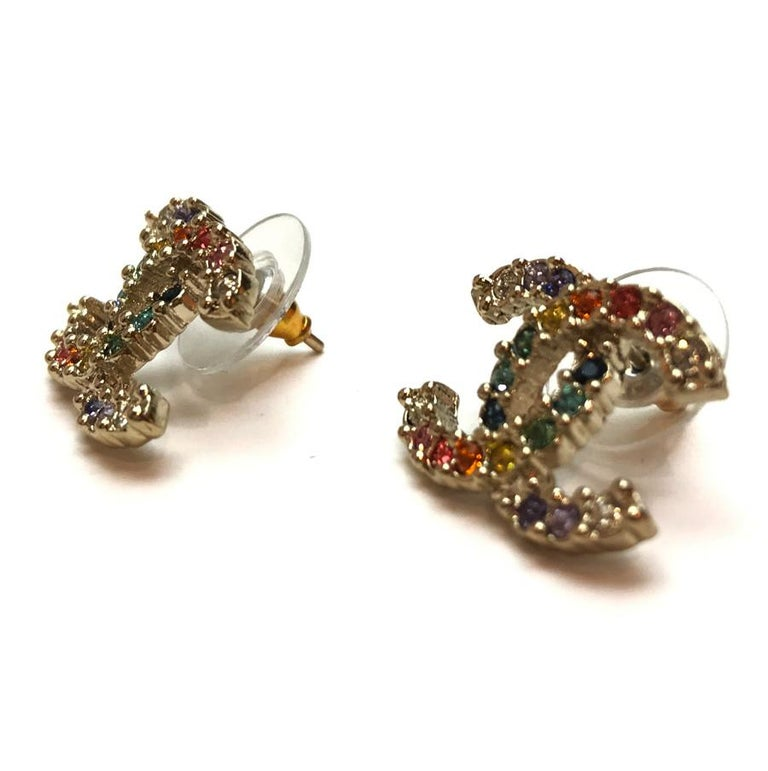 CHANEL Multicolor Stud Earrings In New Condition For Sale In Paris, FR