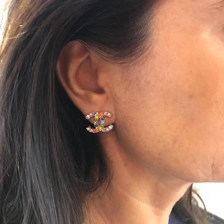 CHANEL Multicolor Stud Earrings For Sale 1