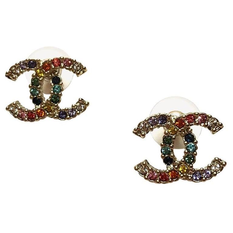 CHANEL Multicolor Stud Earrings For Sale