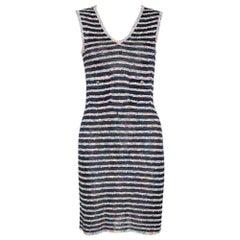 Chanel Multicolor Textured Stripe Knit Shift Dress S