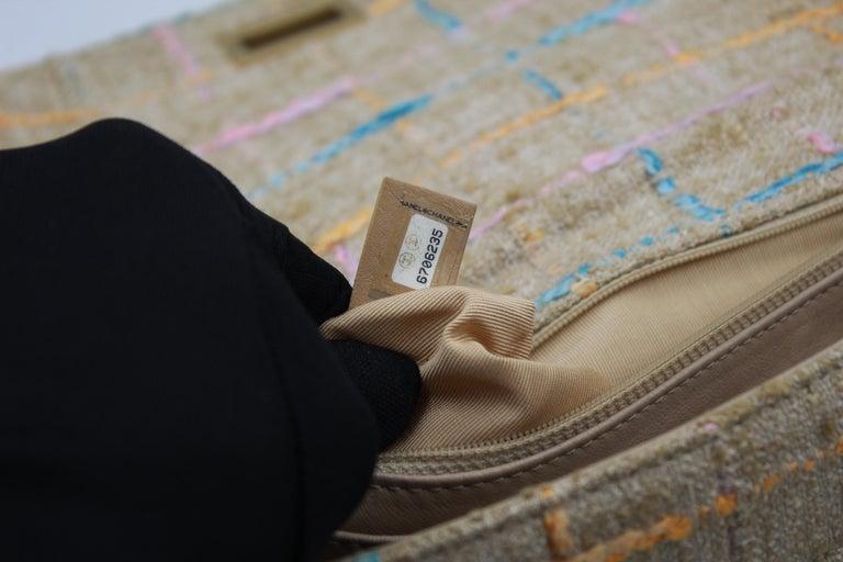 Chanel Multicolor Tweed and Beige Leather Shoulder Bag For Sale 6