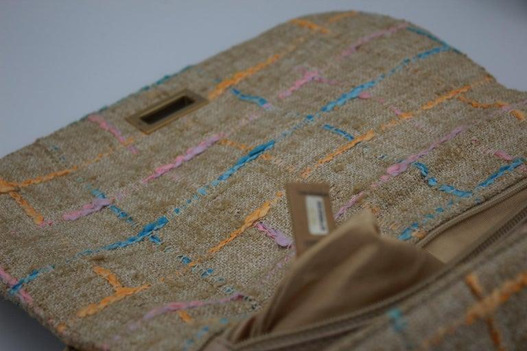 Chanel Multicolor Tweed and Beige Leather Shoulder Bag For Sale 7